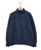 ebure(エブール)の古着「ミックスネップタートルネックニットプルオーバー」 ブルー