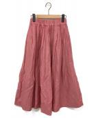 ()の古着「リネン混ギャザースカート」|ピンク