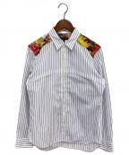 COMME des GARCONS Homme Plus(コムデギャルソン オムプリュス)の古着「フラワー切替ストライプシャツ」 ブルー×ホワイト