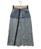 ()の古着「リメイクジッパーデニムロングスカート」 インディゴ