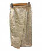 DRESSTERIOR(ドレステリア)の古着「リネンストライプラップタックスカート」|ベージュ