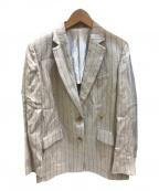 DRESSTERIOR(ドレステリア)の古着「リネンストライプテーラードジャケット」|ベージュ