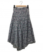 ISABEL MARANT ETOILE(イザベルマランエトワール)の古着「コットンフラワープリントアシンメトリックスカート」|パープル