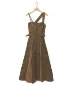 CASA FLINE(カーサフライン)の古着「フロントホックプリーツワンピース」|ブラウン