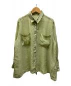 ()の古着「ラミヴィスバックリボンシャツ」|黄緑