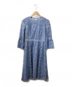 ANAYI(アナイ)の古着「フラワーコードレースフレアワンピース」|ブルー