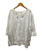()の古着「LIBECOLINENストライプブラウス」 ホワイト