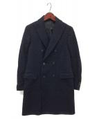 ()の古着「グレンプレイドダブルブレストコート」|ネイビー×ブラック
