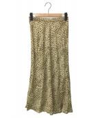 ()の古着「レオパードクレープミディスカート」|ベージュ
