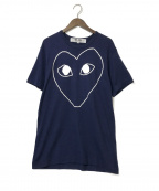 PLAY COMME des GARCONS(プレイ コムデギャルソン)の古着「プレイハートロゴTシャツ」|ネイビー