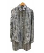 ()の古着「ロングチェックシャツ」|グレー