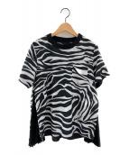 ()の古着「ゼブラ柄プリーツ切替半袖Tシャツ」|ブラック