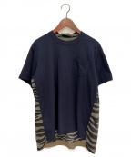 sacai(サカイ)の古着「20SS ゼブラ切替Tシャツ」|ネイビー