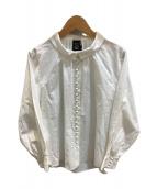 ()の古着「釦たくさん襟付きブラウス」|ホワイト