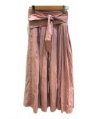 ()の古着「ワイドベルトロングスカート」|ピンク