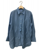 ()の古着「フロントスリットロングシャツ」|ブルー
