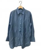 allureville(アルアバイル)の古着「フロントスリットロングシャツ」|ブルー