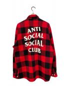 ()の古着「ブロックチェックネルシャツ」 レッド×ブラック