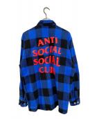 ()の古着「ブロックチェックネルシャツ」 ブルー×ブラック