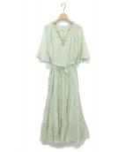 ()の古着「C.VOILE TIERED EMB DRESS」 ライトグリーン