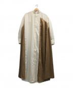 BONUM(ボナム)の古着「プリーツキリカエシャツドレス」 ベージュ