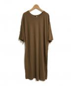 ATON(エイトン)の古着「FRESCA LONG SLIT Tシャツ」 ブラウン