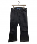 blackmeans(ブラックミーンズ)の古着「クロップドフレアデニムパンツ」|ブラック