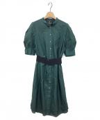 LANVIN COLLECTION(ランバンコレクション)の古着「シルク混ミディ丈ワンピース」|グリーン