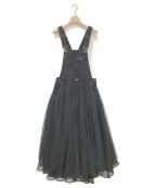 Belle vintage(ベル ビンテージ)の古着「ボリュームチュールデニムサロペット」 ブラック