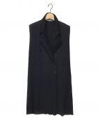 ISSEY MIYAKE(イッセイミヤケ)の古着「プリーツロングジレ」|ブラック