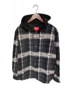 ()の古着「HOODED JACQUARD FLANNEL SHIRT」 ブラック