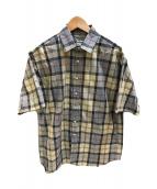 ()の古着「半袖チェックシャツ」 ベージュ