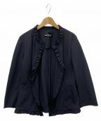 tricot COMME des GARCONS(トリココムデギャルソン)の古着「ノーカラーフリルジャケット」 ネイビー