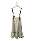 JILL BY JILLSTUART(ジルバイジルスチュアート)の古着「バイカラーサス付スカート」|ベージュ
