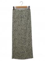 Adam et Rope(アダムエロペ)の古着「総柄プリーツタイトスカート」 ブラック×アイボリー