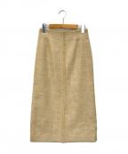 BALLSEY()の古着「ポリエステルコットンツイードIラインスカート」 ベージュ