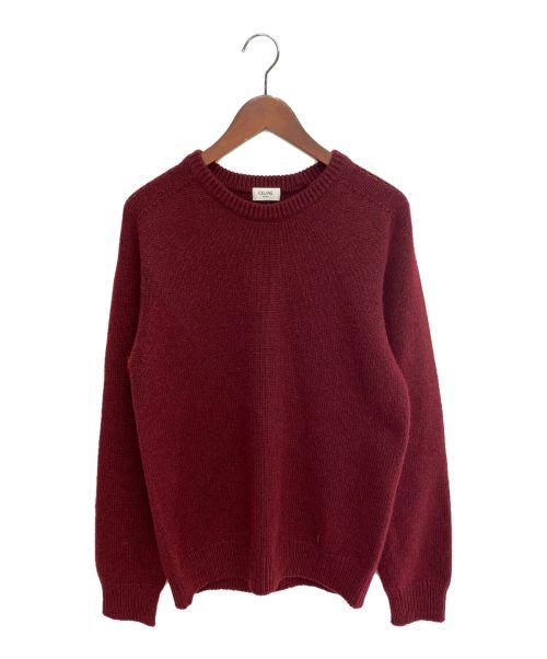 CELINE(セリーヌ)CELINE (セリーヌ) クルーネックセーター/シームレスカシミア レッド サイズ:Mの古着・服飾アイテム