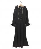HER LIP TO(ハーリップトゥ)の古着「フーデッドコットンブレンドジャージードレス」|ブラック