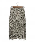 JUSGLITTY(ジャスグリッティー)の古着「配色レースタイトスカート」|ブラック