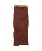 Noble()の古着「透かし編みニットスカート」 ブラウン