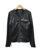 ()の古着「ノーカラーラムレザージャケット」 ブラック