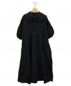 Veritecoeur(ヴェリテクール)の古着「衿付パフスリーブワンピース」|ブラック