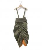 ANREALAGE(アンリアレイジ)の古着「MA-1 SLEEVE DRESS&SKIRT」|オリーブ