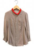 UNDERCOVER()の古着「プチ襟配色シルクシャツ」|グレー