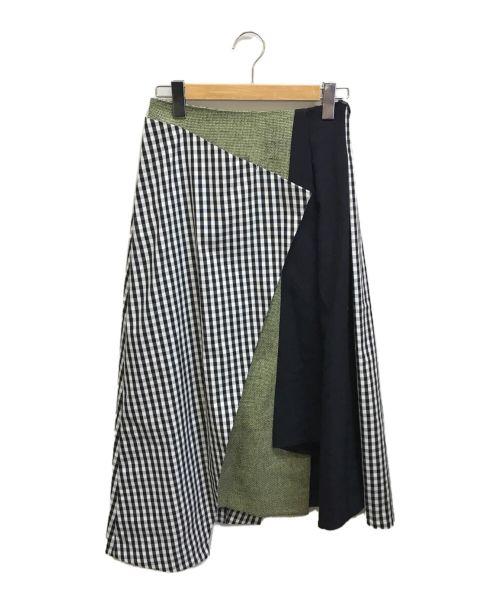 ENFOLD(エンフォルド)ENFOLD (エンフォルド) ギンガムMIXアシンメトリースカート ブラック サイズ:38の古着・服飾アイテム