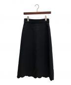 MIU MIU(ミュウミュウ)の古着「スカラップロングスカート」|ブラック