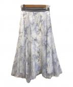 Mystrada(マイストラーダ)の古着「ぼかしフラワー2WAYスカート」 ホワイト×パステルブルー