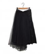 noir kei ninomiya(ノワール ケイ ニノミヤ)の古着「デザインチュールギャザースカート」|ブラック