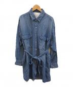 ticca(ティッカ)の古着「デニムサファリシャツジャケット」|スカイブルー