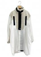 sacai(サカイ)の古着「ミックスツイード切替シャツ」|ホワイト